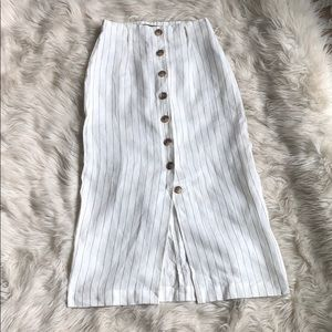 Forever21 long white linen skirt